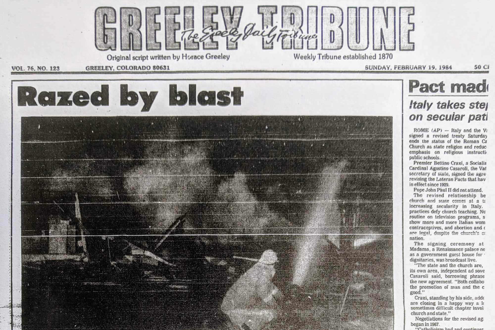 Photo: Greeley Tribune 1984 Oil and Gas Explosion 1