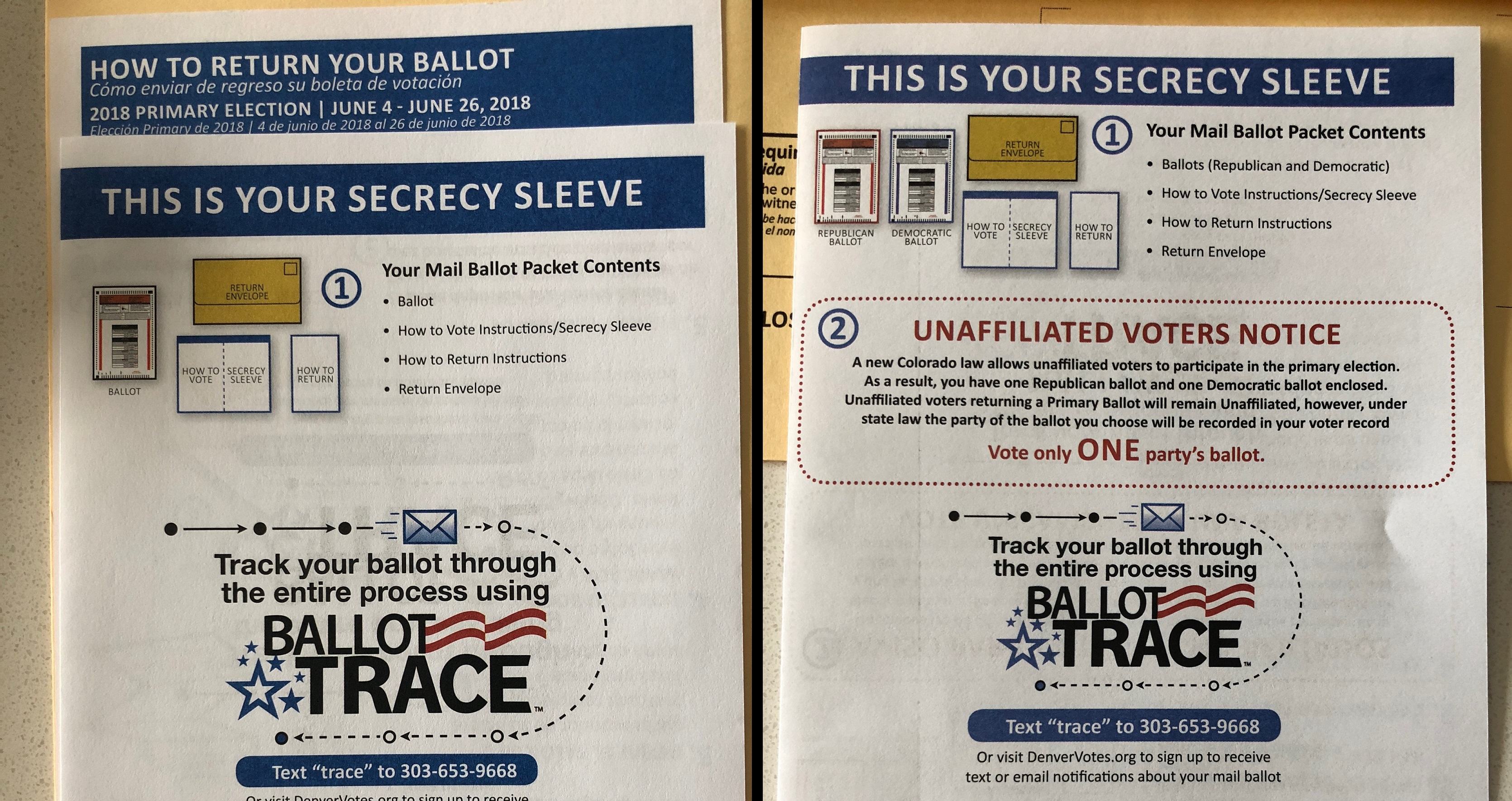 Photo: Denver Unaffiliated and Party Ballot Sleeves