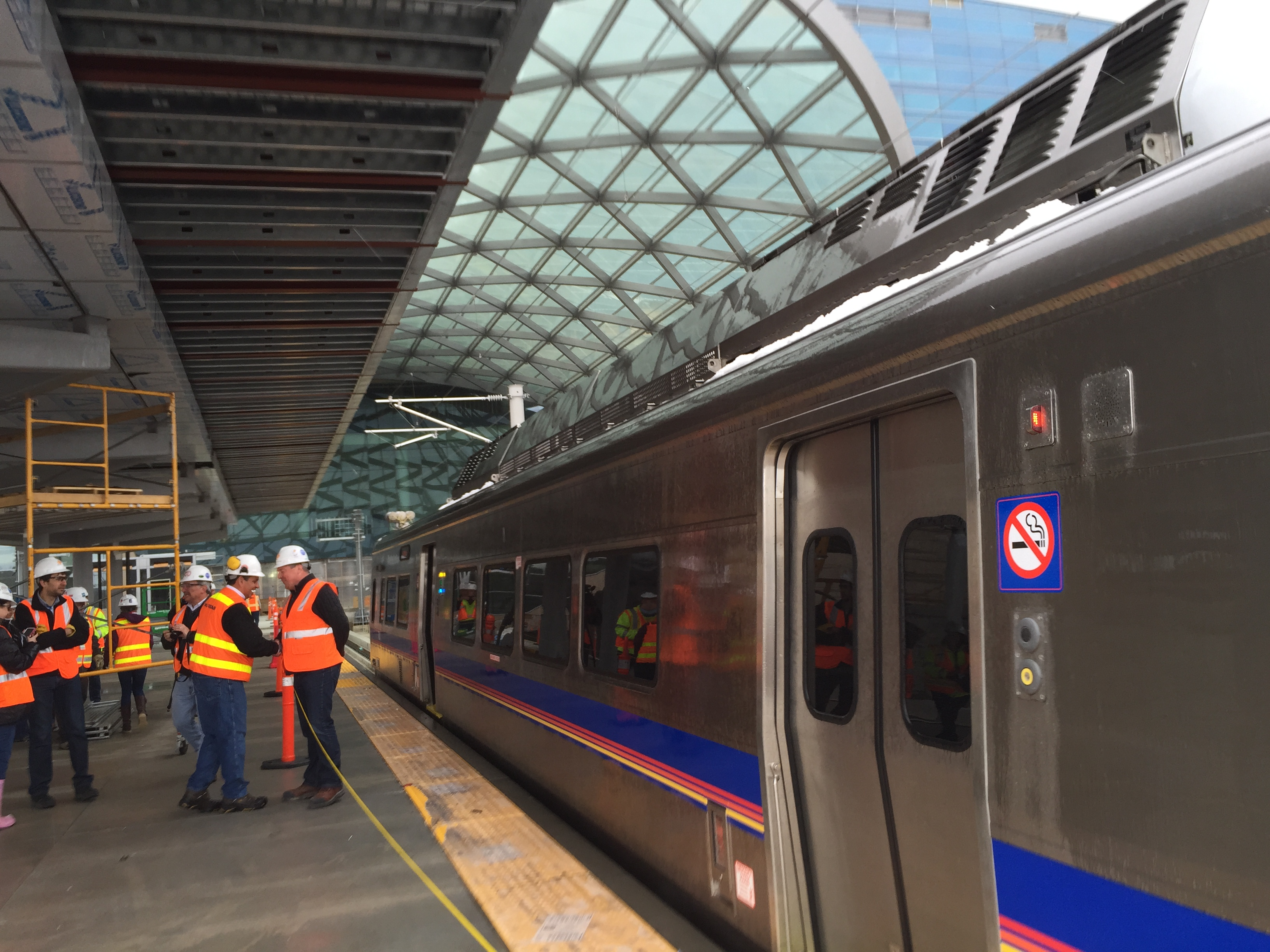 RTD East Rail Line cars enter DIA station under their own