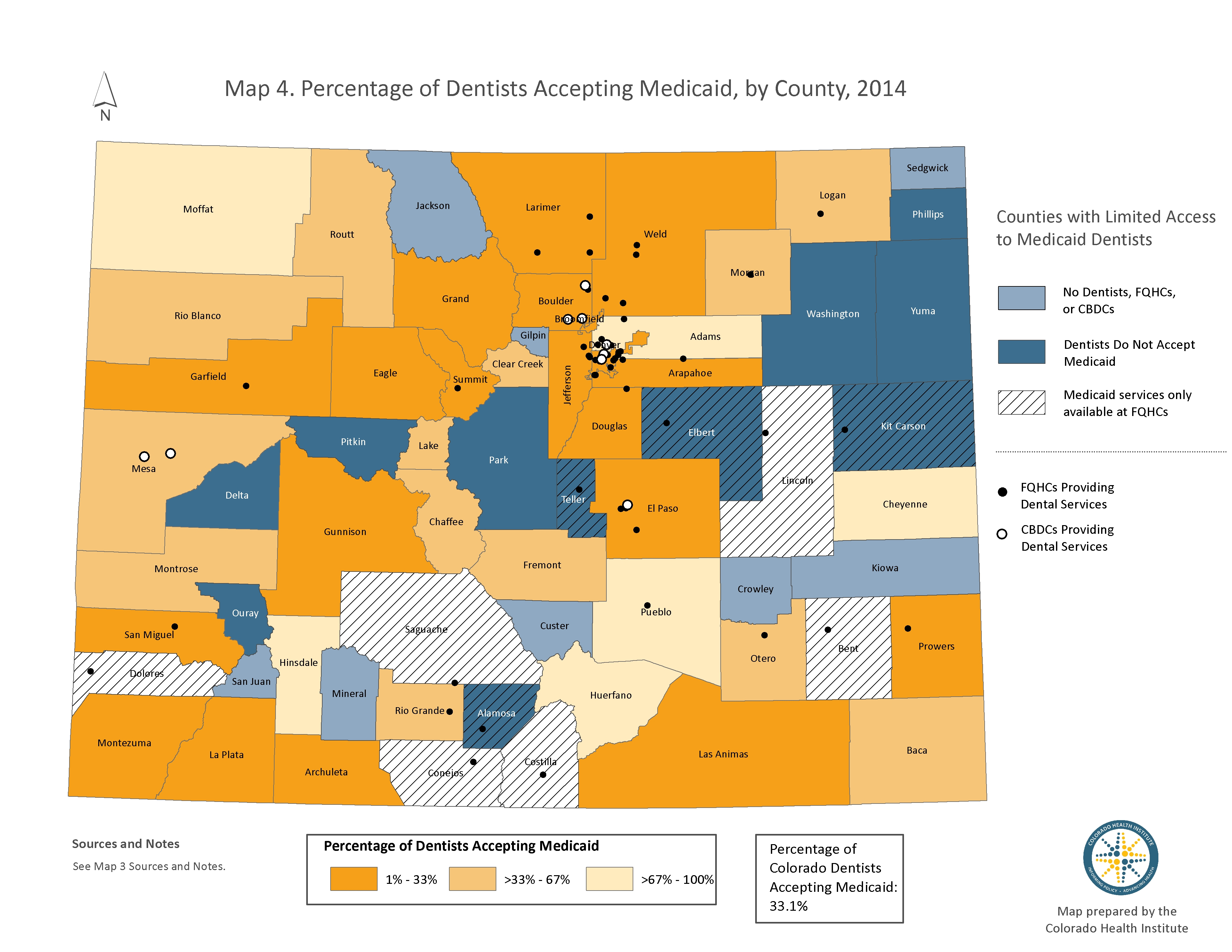 Map: Dental Deserts 3, percentage of dentists accepting Medicaid, by county