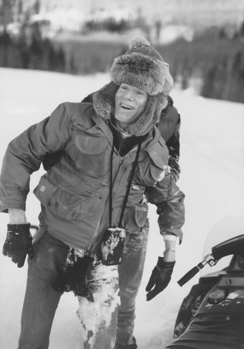 Photo: Andy Warhol after snowmobile accident 1983