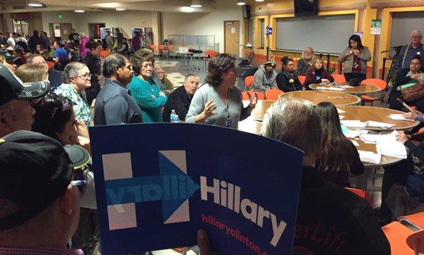 Photo: Colorado Caucus, Adams City High School, Clinton Supporter (BM)