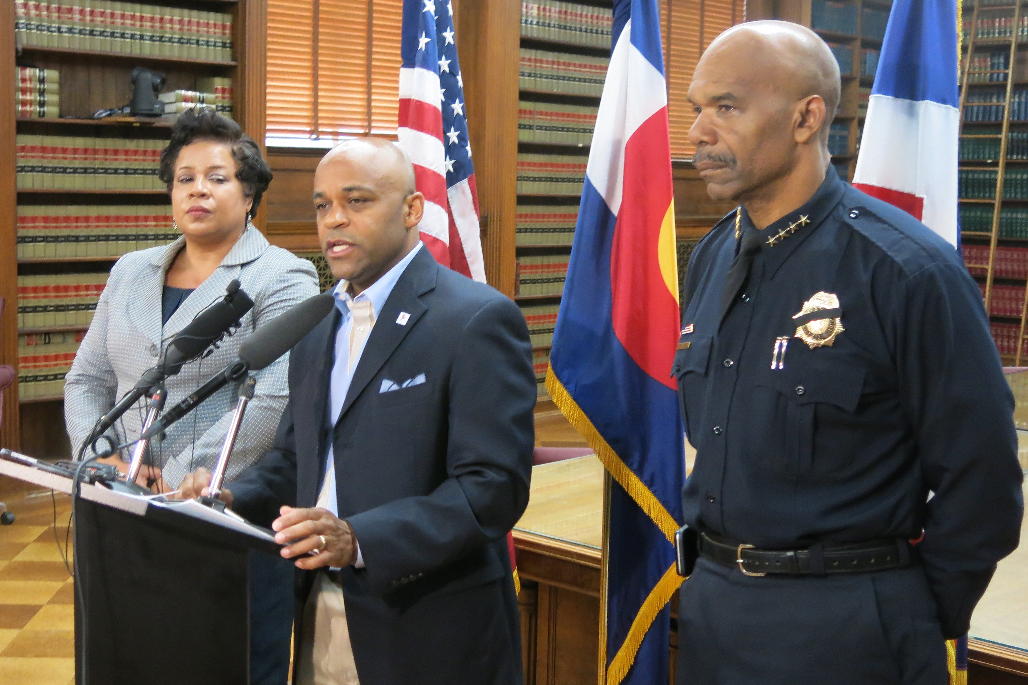 Photo: Stephanie O'Malley, Michael Hancock and Gordon White Talk To Reporters After Dallas Shooting