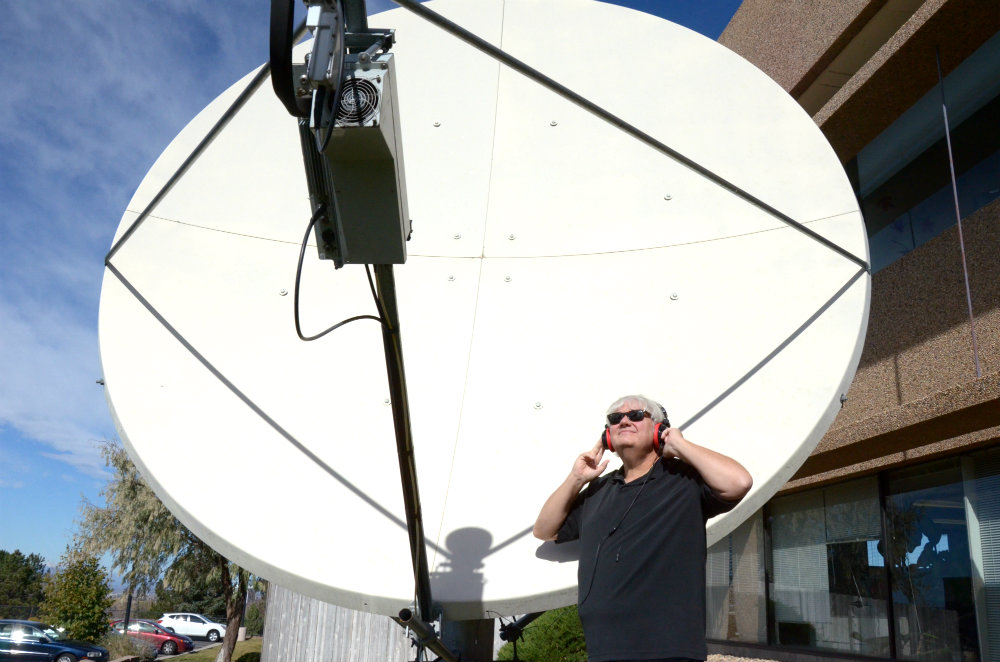 photo: Mike Flanagan with radio telescope