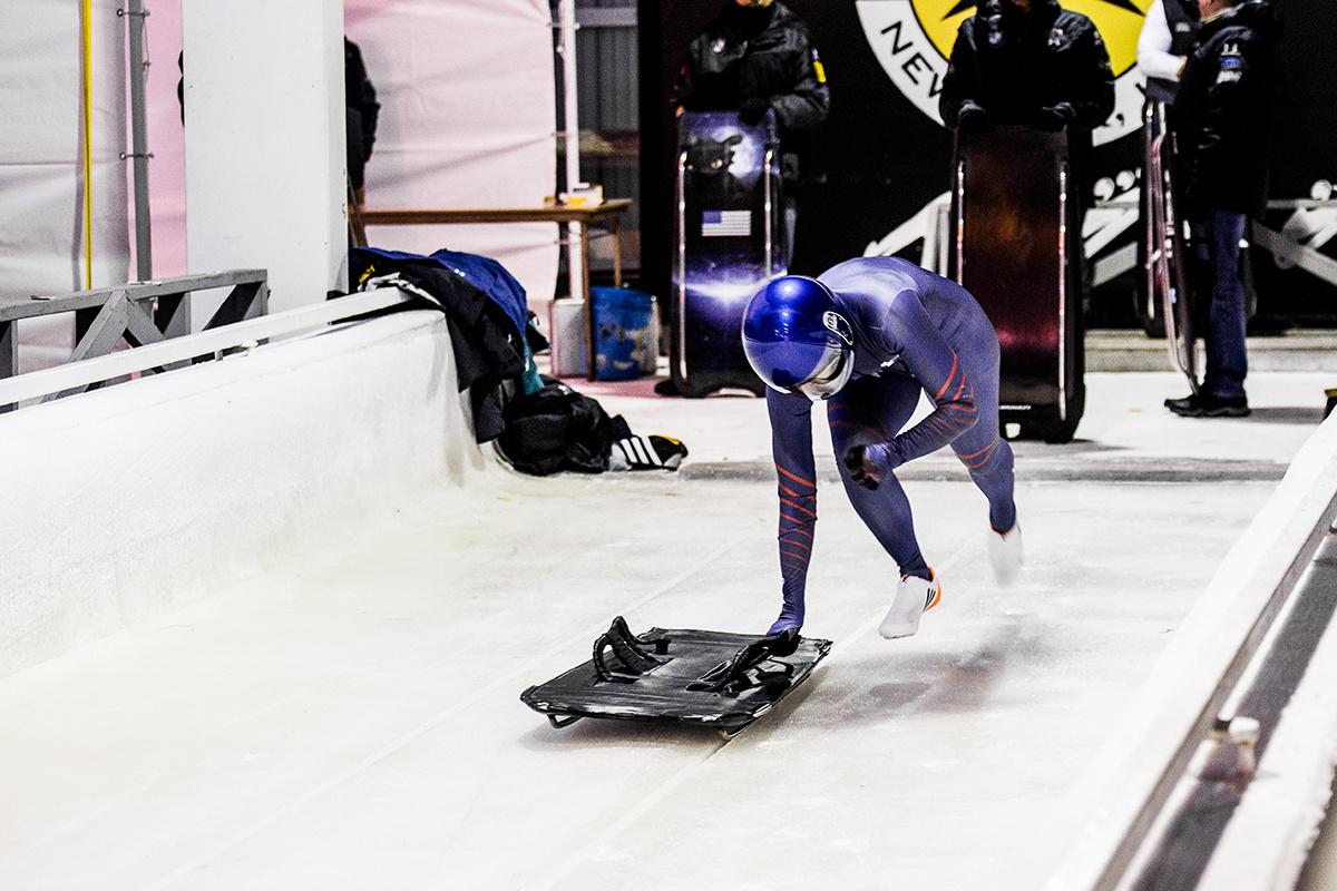 Photo: Olympic hopeful Veronica Day on ice track push start