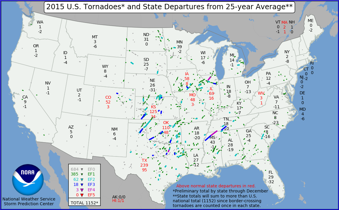Graphic: NOAA 2015 Tornadoes State Departures From 25-Year Average