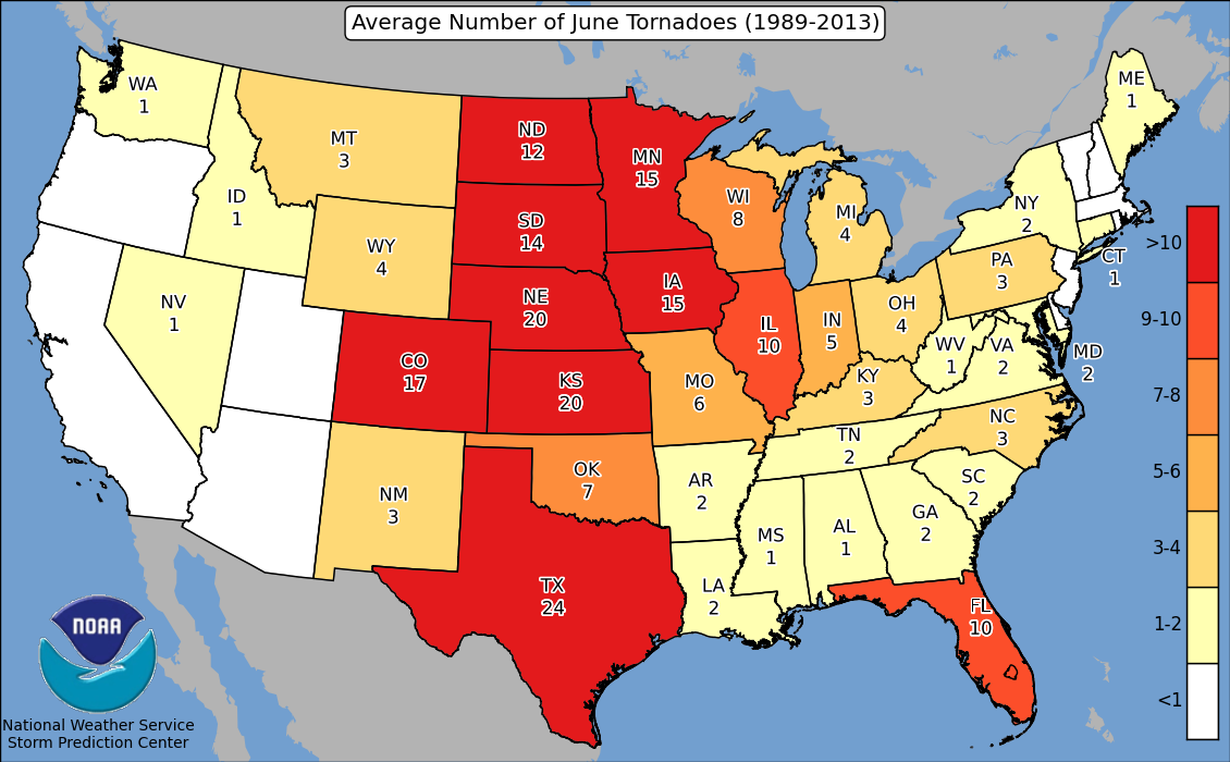 Graphic: NOAA Average June Tornadoes By State 1989-2013