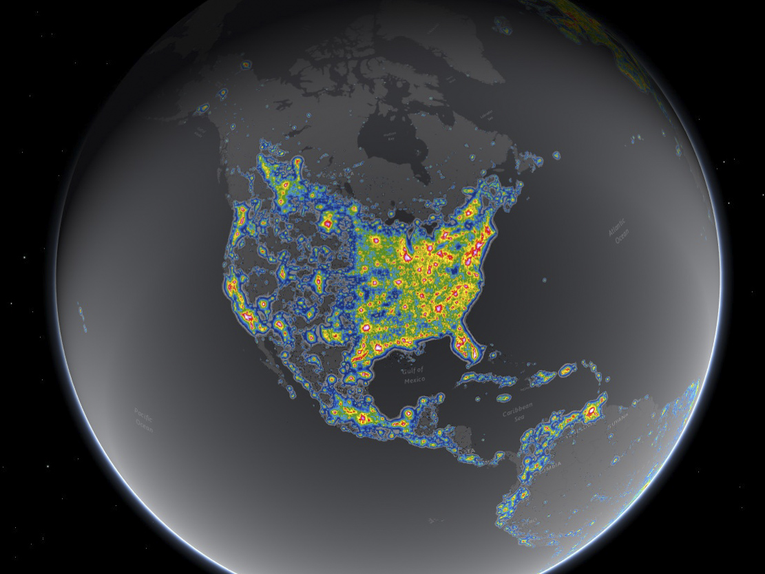 Map: North America light pollution