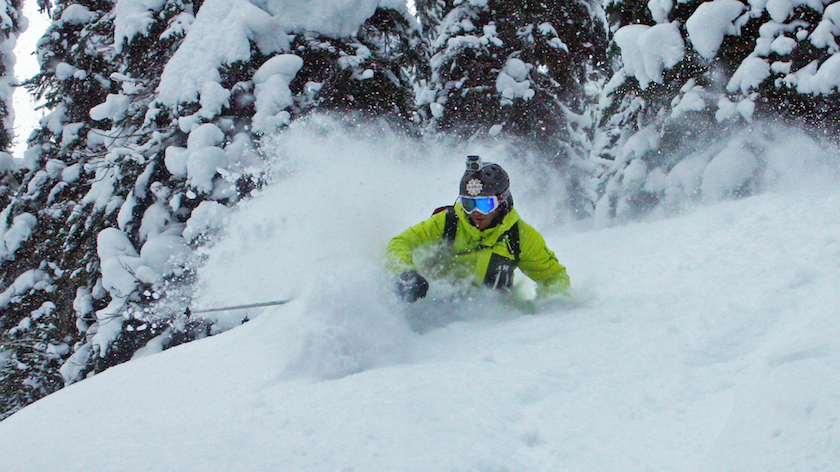 Photo: Joel Gratz OpenSnow skiing in trees