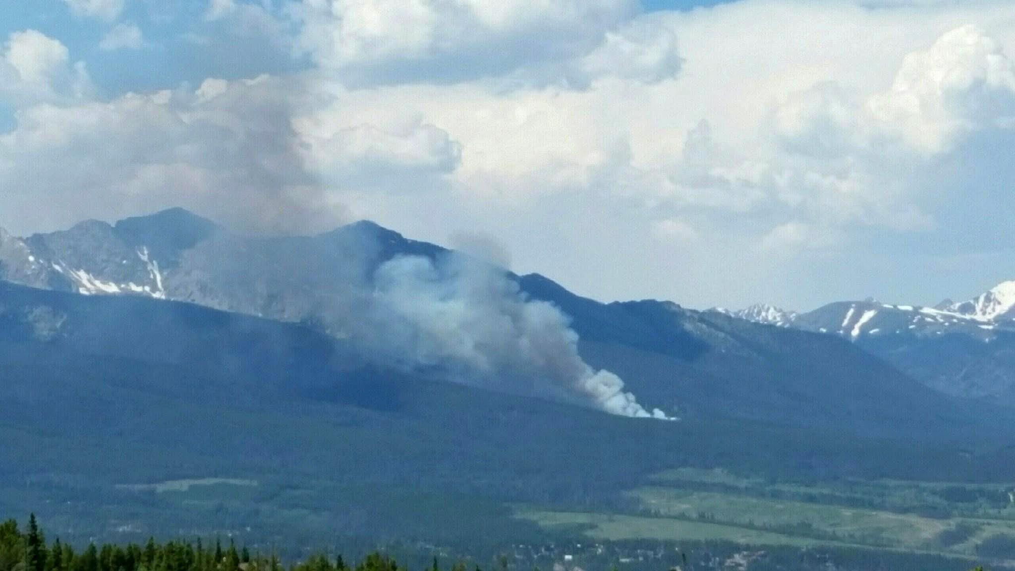 Photo: Breckenridge Wildfire Seen From Town Looking North June 5 (InciWeb)