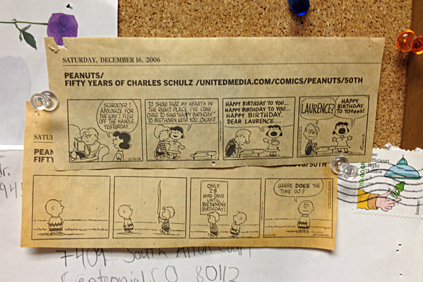 Photo: Peanuts strips on the CPR bulletin board