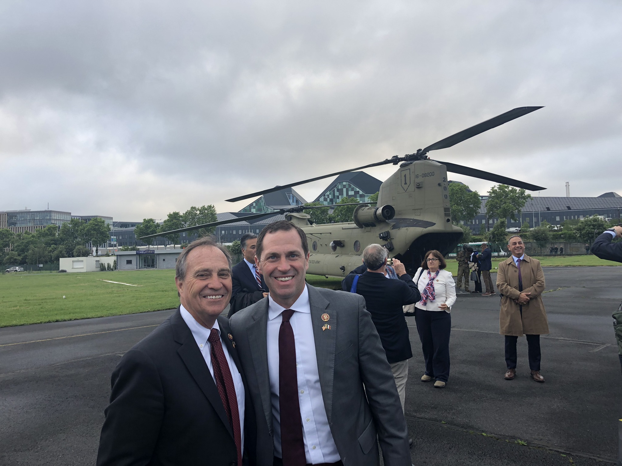<p>DemocraticCongressmen Ed Perlmutter and Jason Crow in Normandy, France, for the 75th anniversary of the D-Day Invasion.</p>