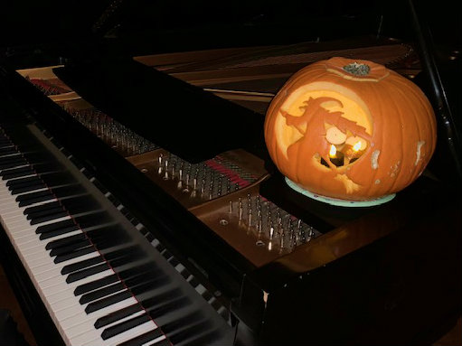 Photo: Spooky pumpkin on piano