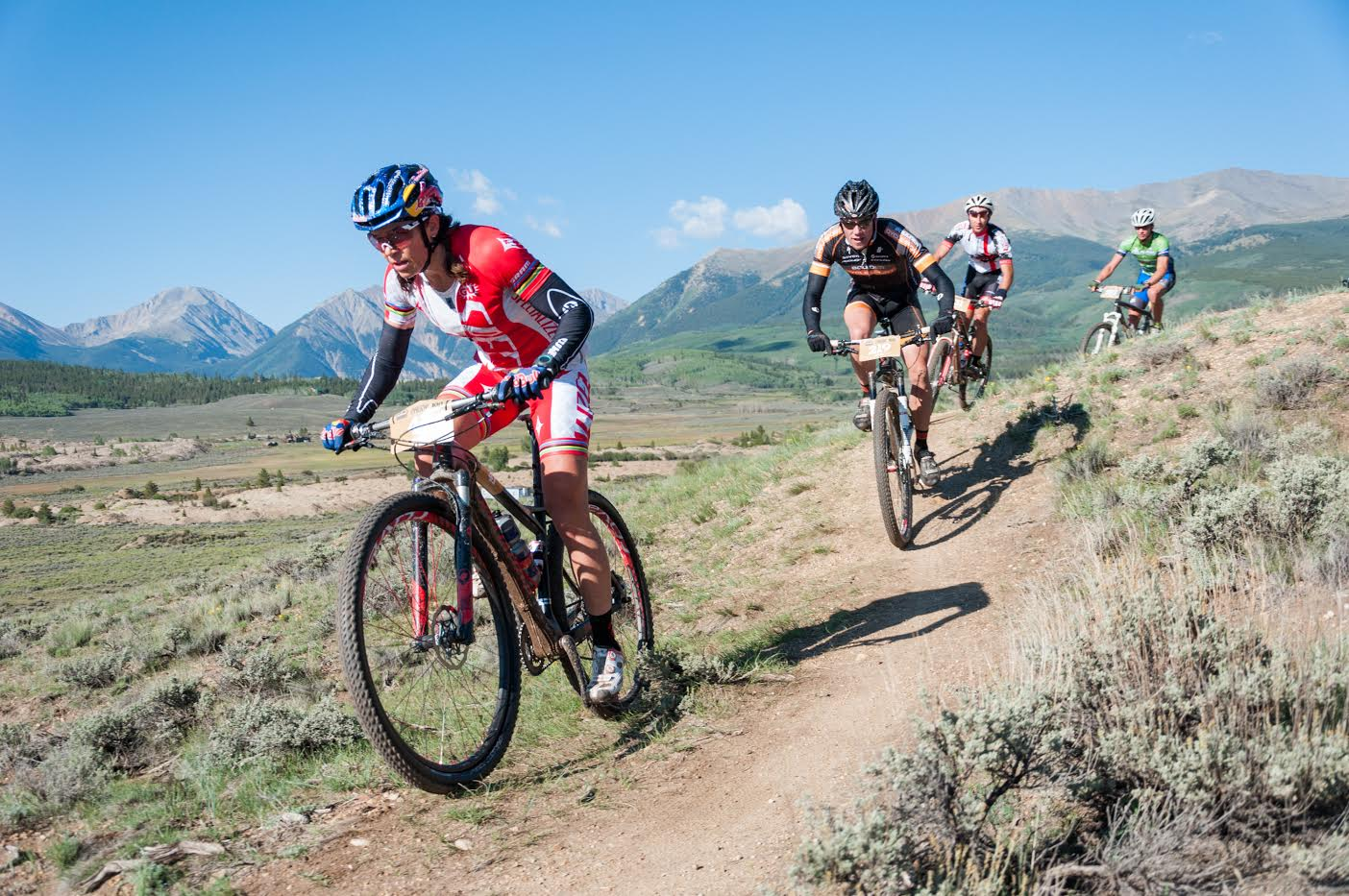 Photo: Rebecca Rusch competing at Leadville