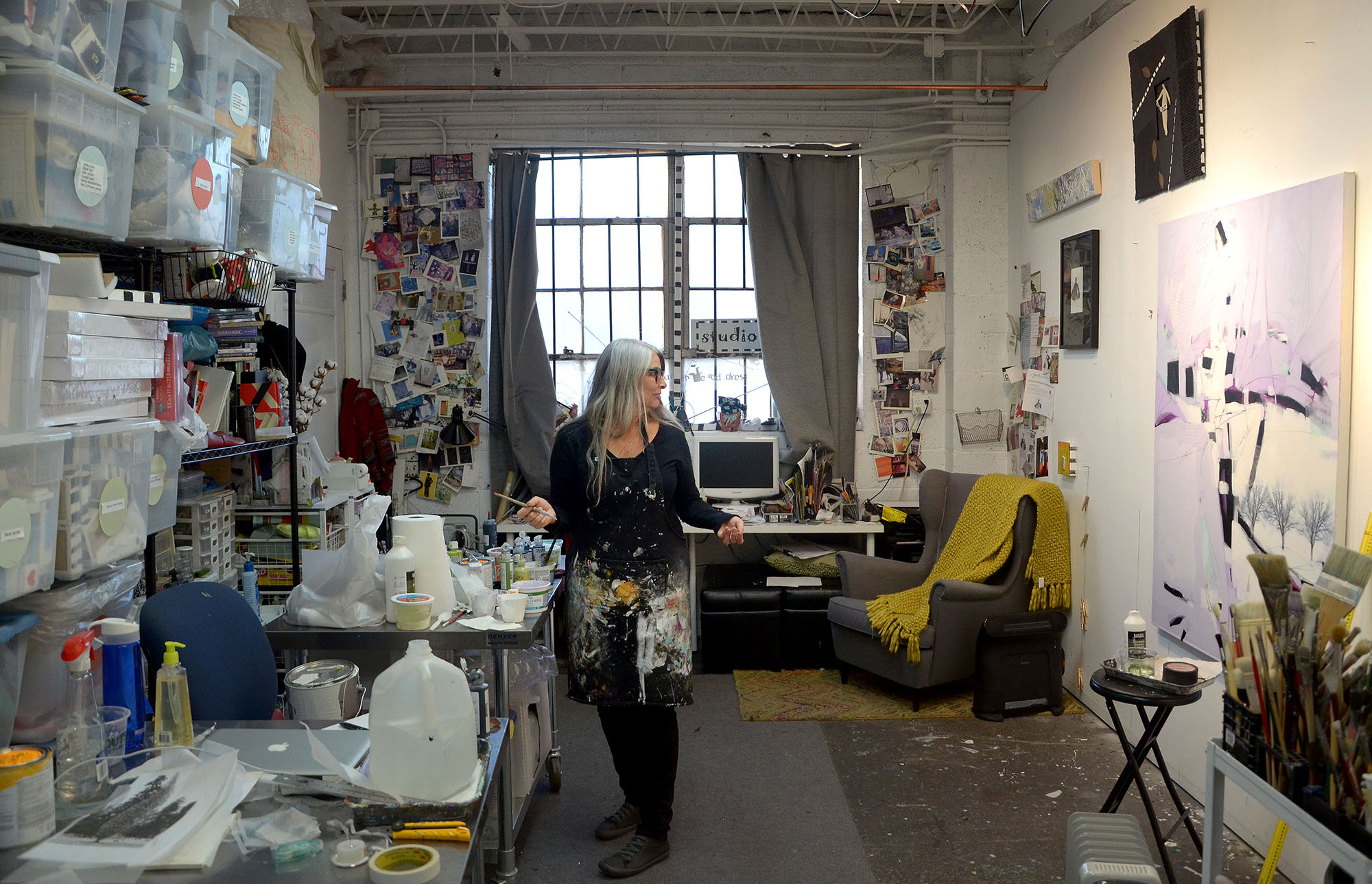 Photo: Artist Roxanne Rossi in her studio (2), RiNo District