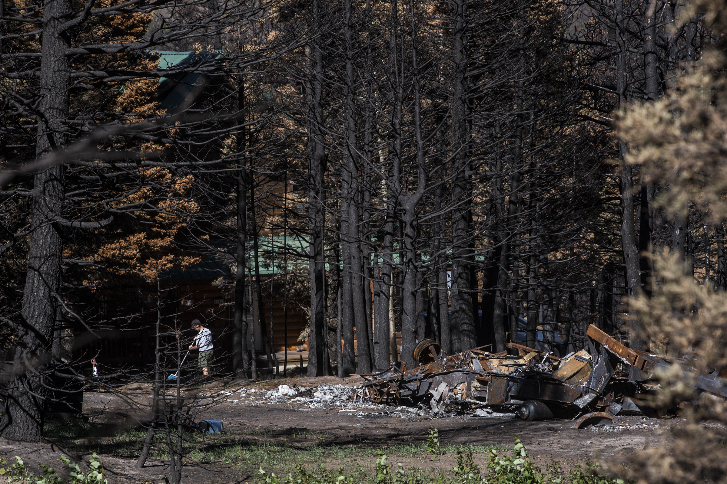 Photo: Spring Creek Fire 1 | Sweeping outside home