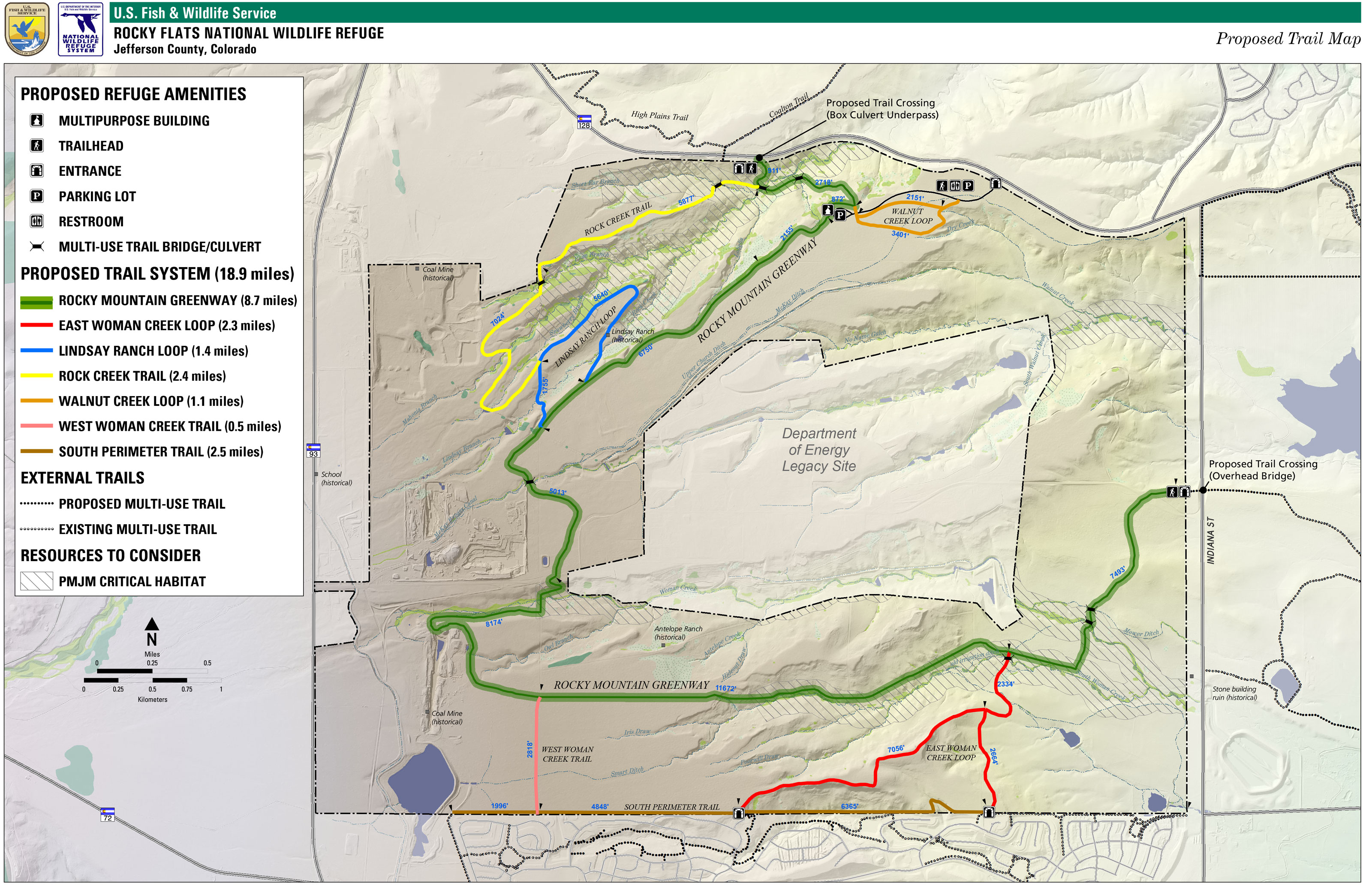 Map: USFWS Rocky Flats National Wildlife Refuge Trail Map - Courtesy