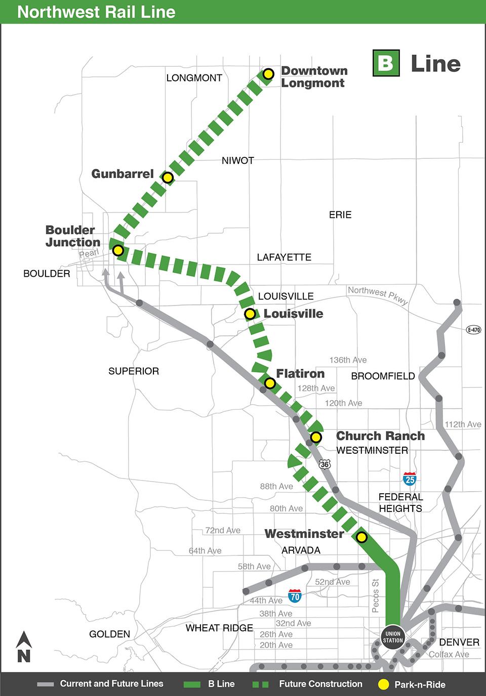 Photo: RTD B Line Northwest Corridor map