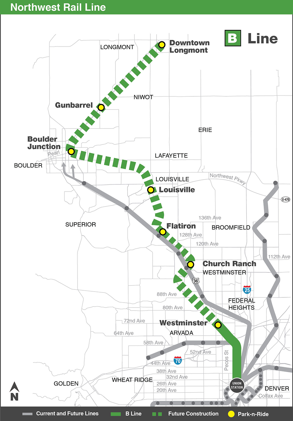 Photo: RTD B Line Northwest Corridor map