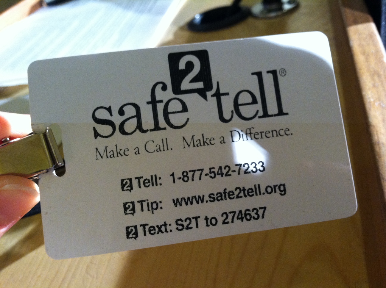 Photo: Safe2Tell Program badge