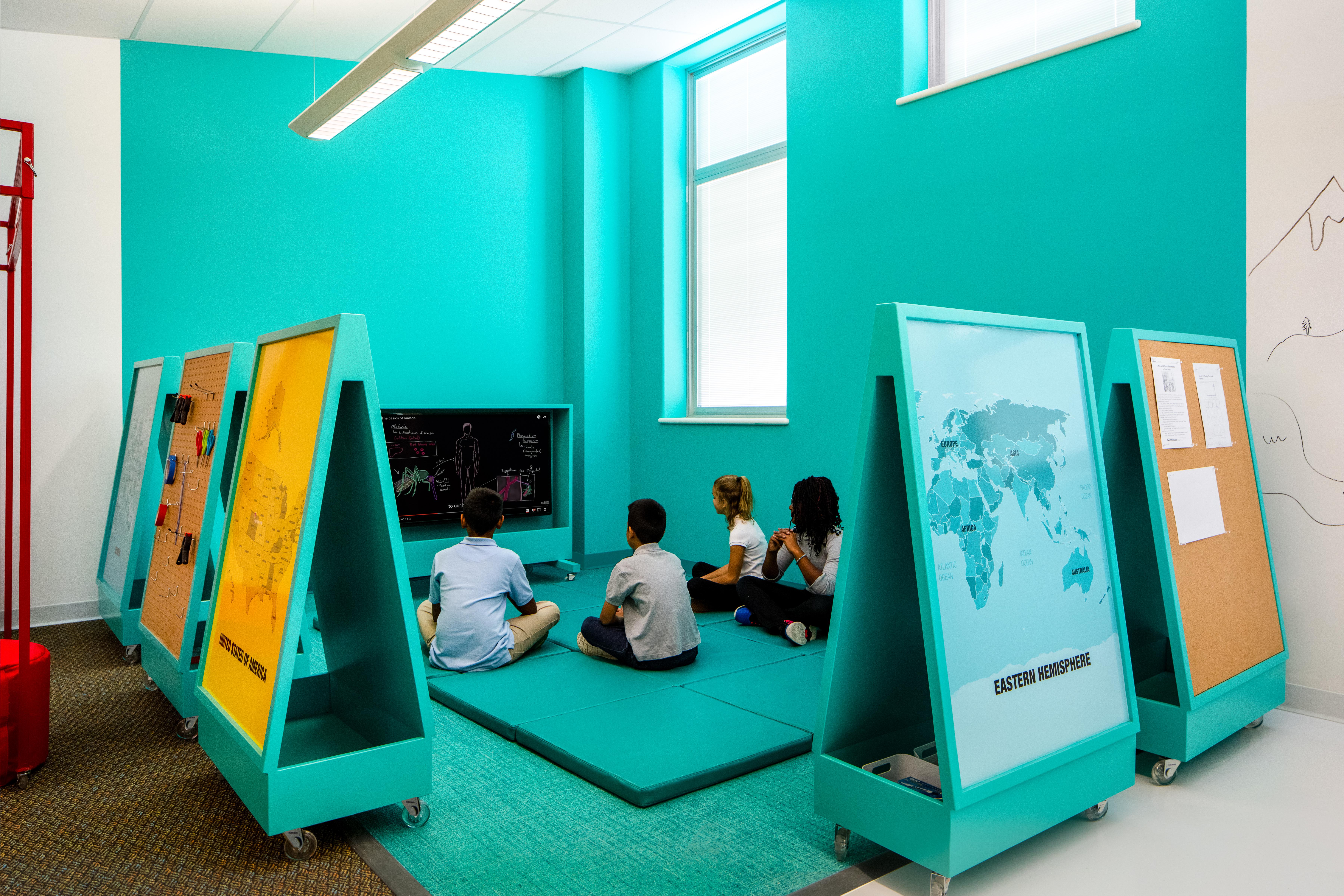Photo: School classroom design High Tech Elementary Denver Public Schools kids with screen