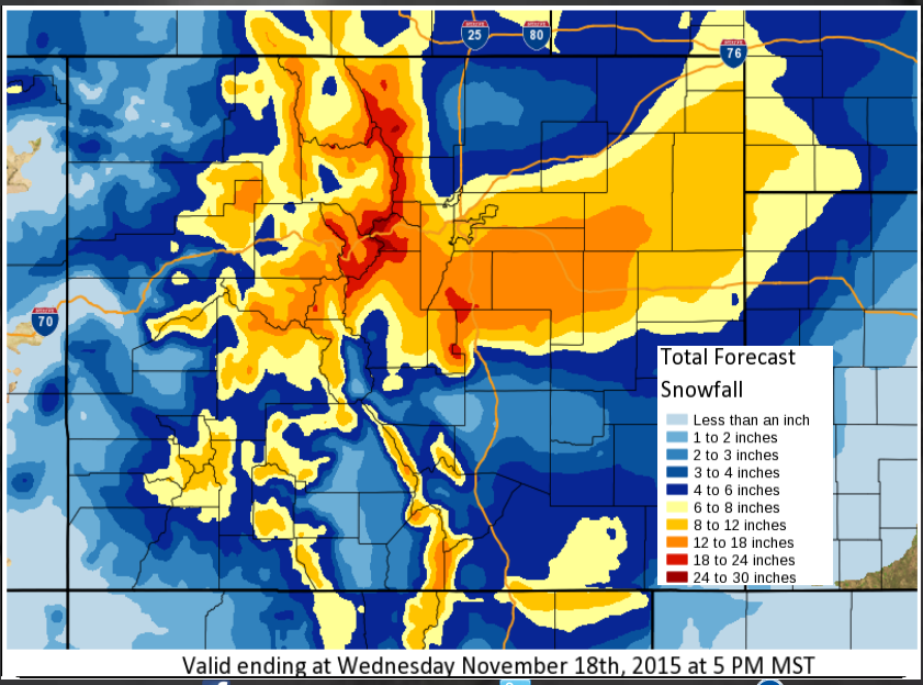 Map: Snowstorm November 16 2015 (NWS)