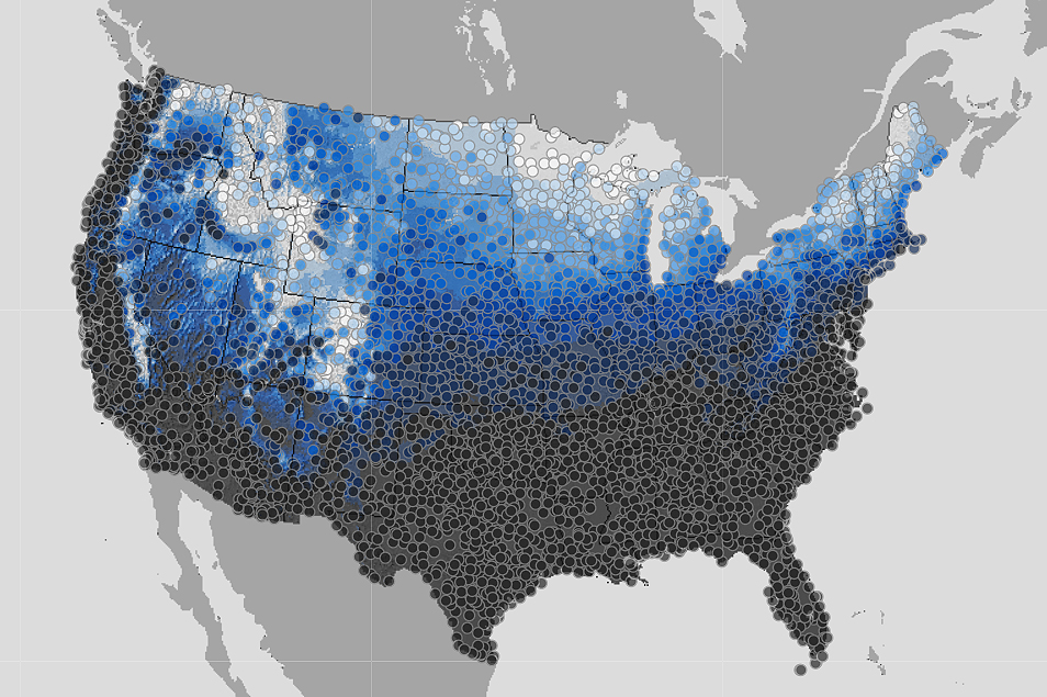 Graphic: NWS Snow Map 20181222