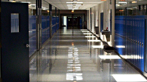 Photo: High school hallway