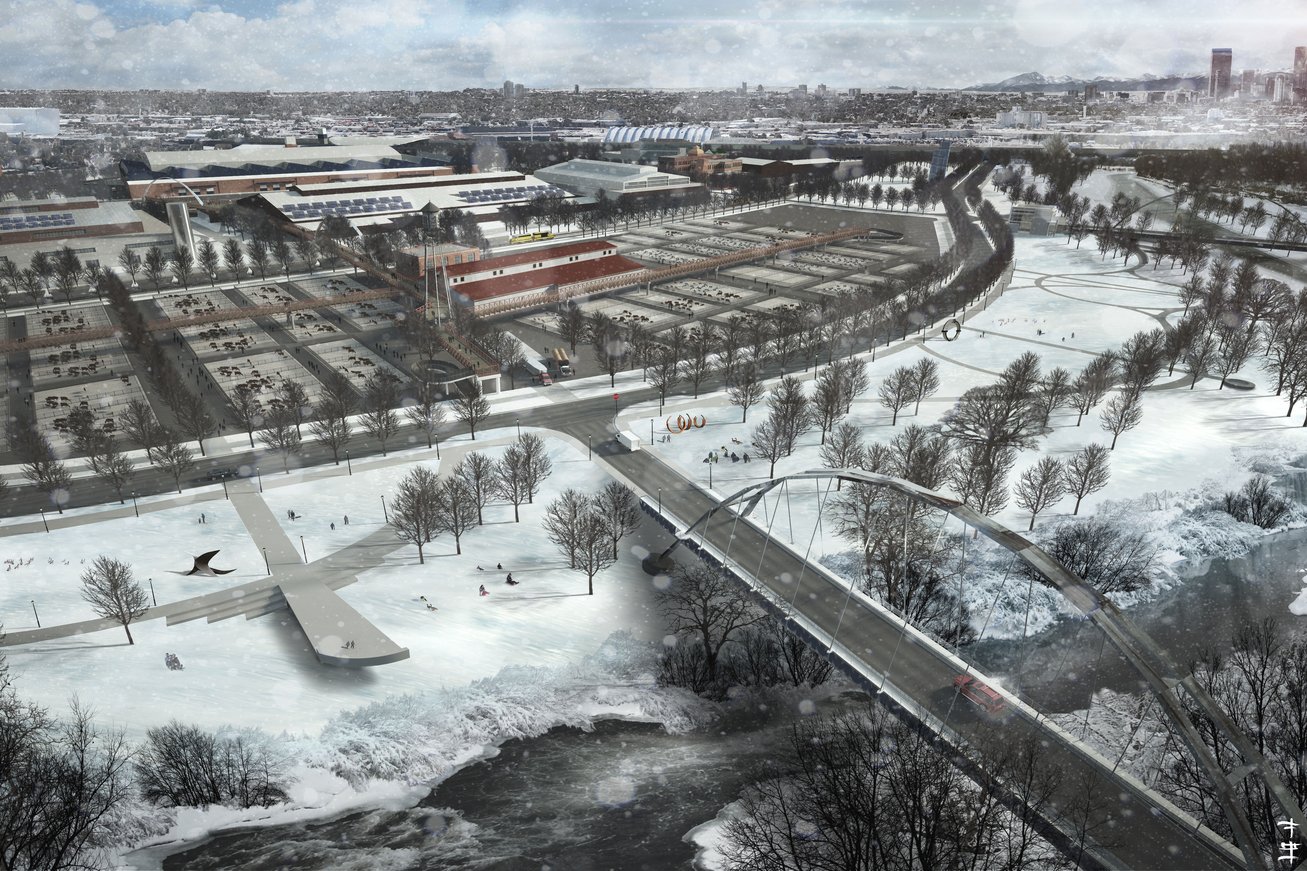 Photo: Rendering of new stock yards and river crossing at the National Western Center