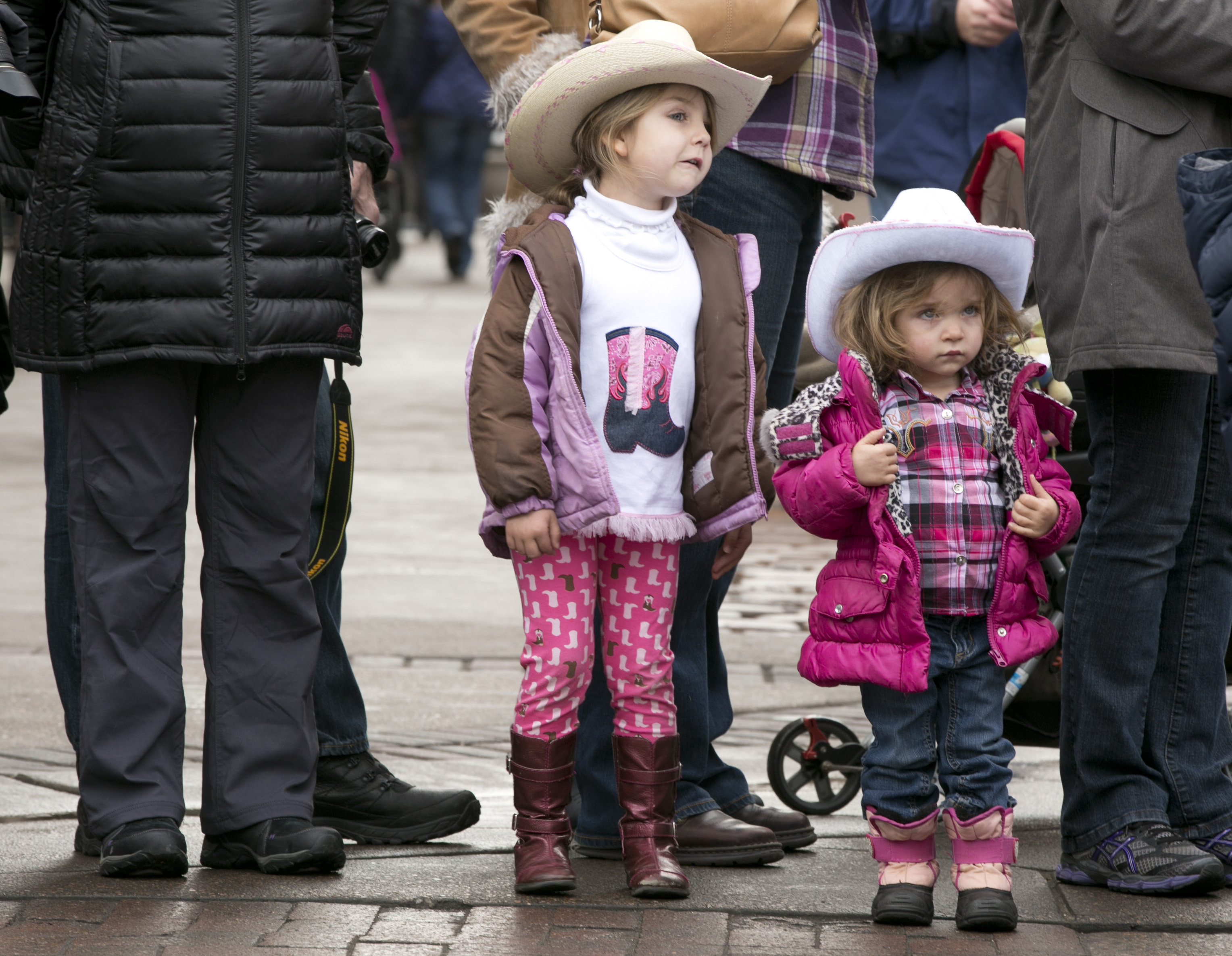 Photo: Stock show parade 2   Howell sisters watch parade