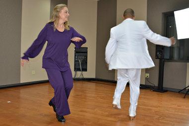 Photo: David Sharp and Jeannine Goode-Allen tap dance 3-2