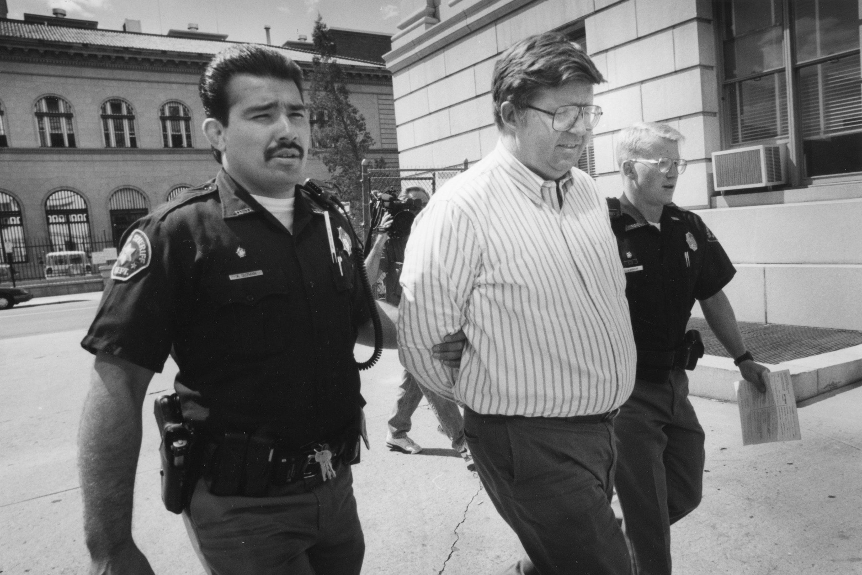 Douglas Bruce taken to jail, 1995.