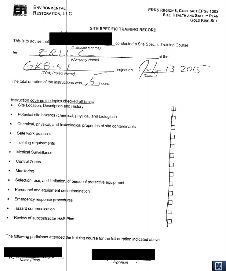 Photo: Training record of contractors at Gold King Mine spill