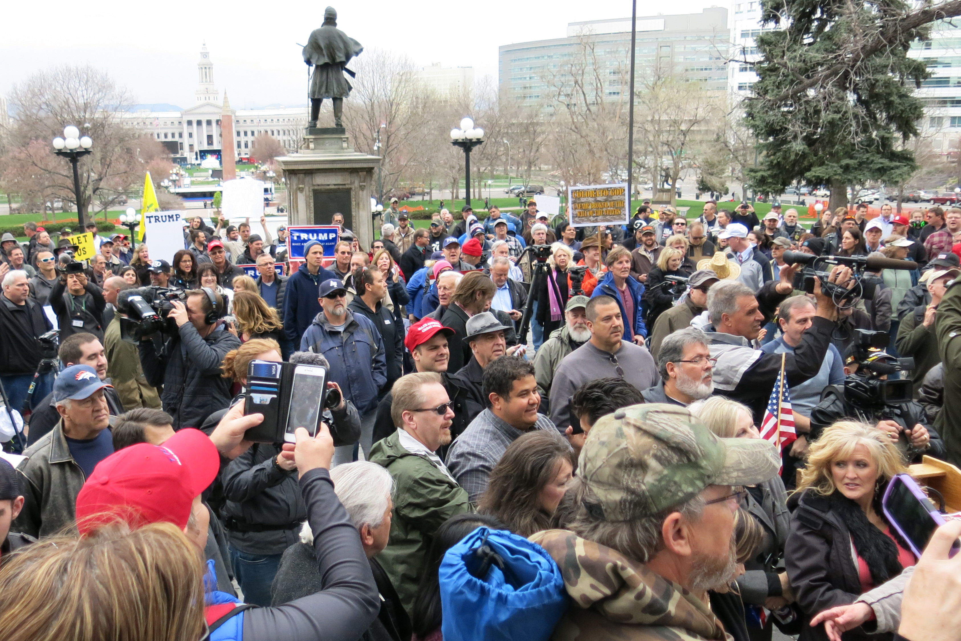 Photo: Trump supporters rally in Denver April 15, 2016.