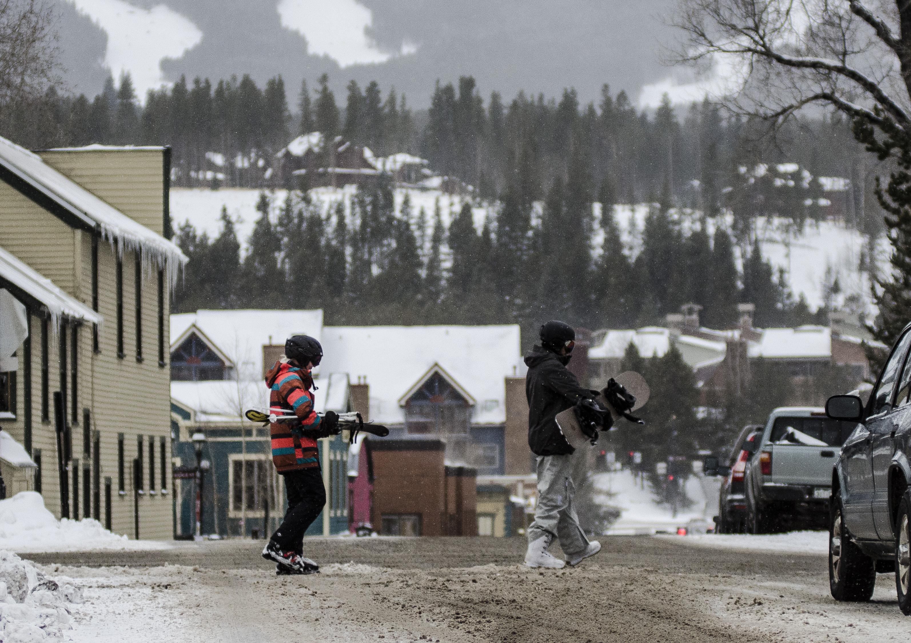Photo: Skiier, snowboarder in Breckenridge