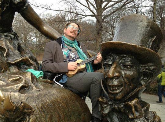 Photo: Loki in Central Park with ukulele