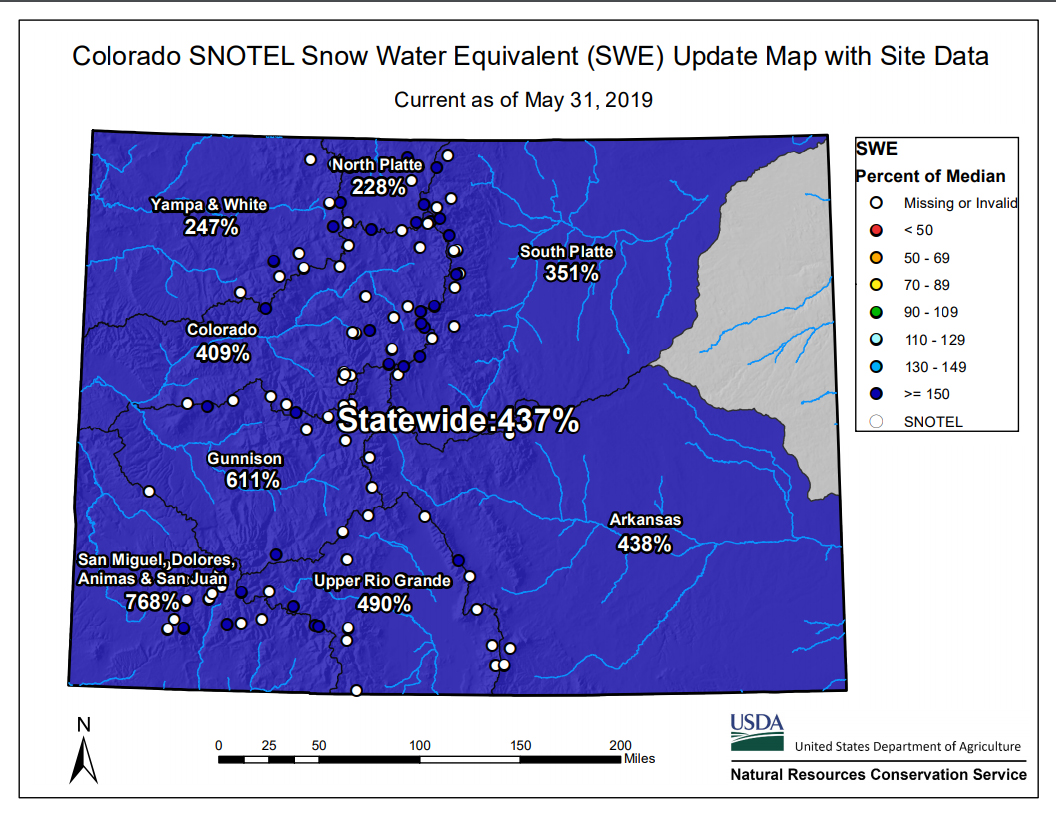 Photo: snowpack map May 2019-- courtesy