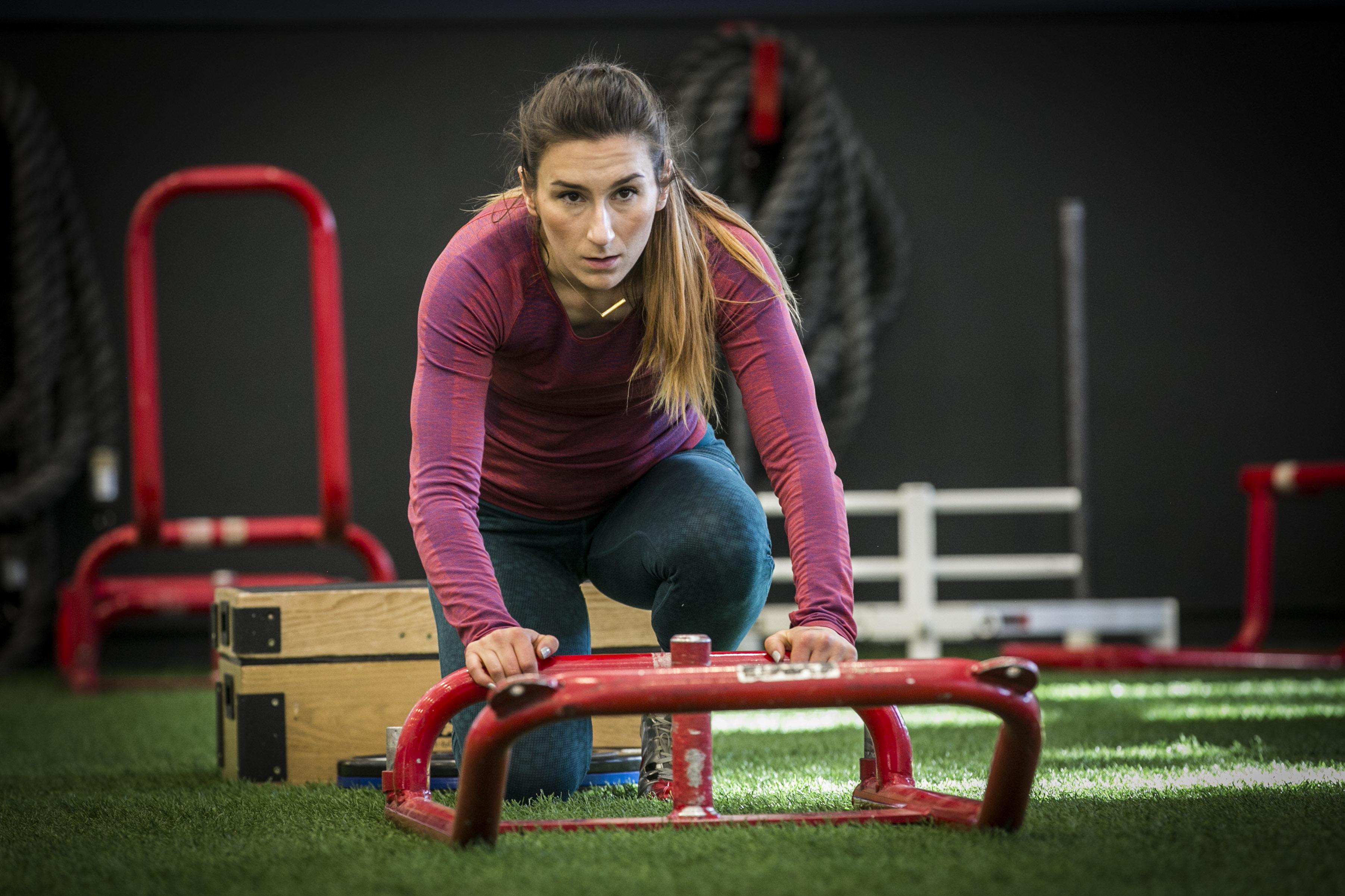 Photo: Olympic hopeful Veronica Day 3   Pushing a sled