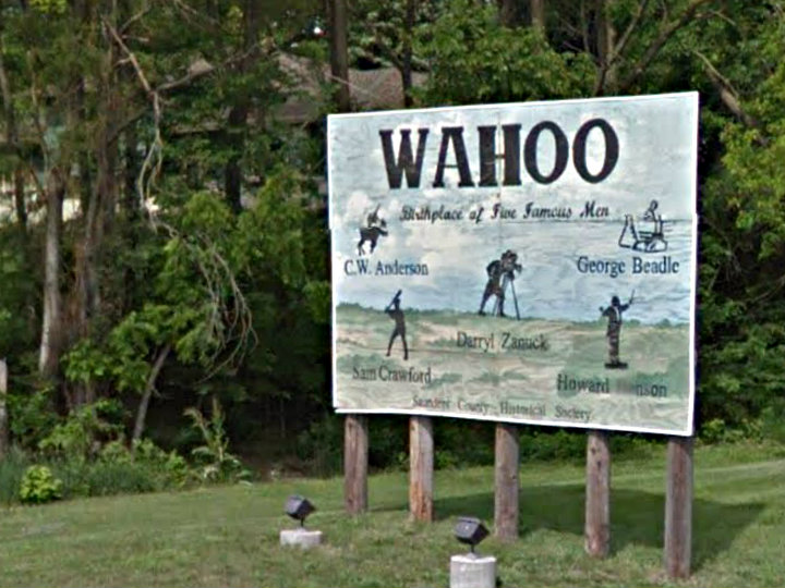 Photo: Wahoo, Nebraska sign