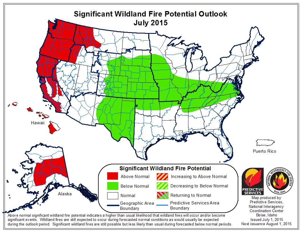 Map: Wildland Fire Risk July 2015 (NIFC)