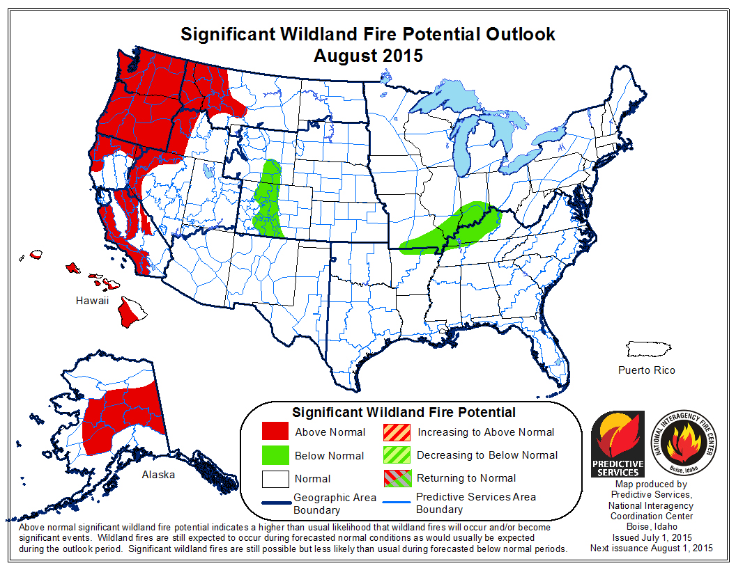 Map: Map: Wildland Fire Risk August 2015 (NIFC)