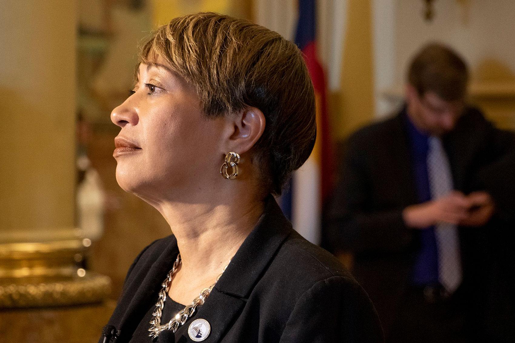 State Senator Angela Williams speaks with press inside the Capitol, March 5, 2019. (Kevin J. Beaty/Denverite)