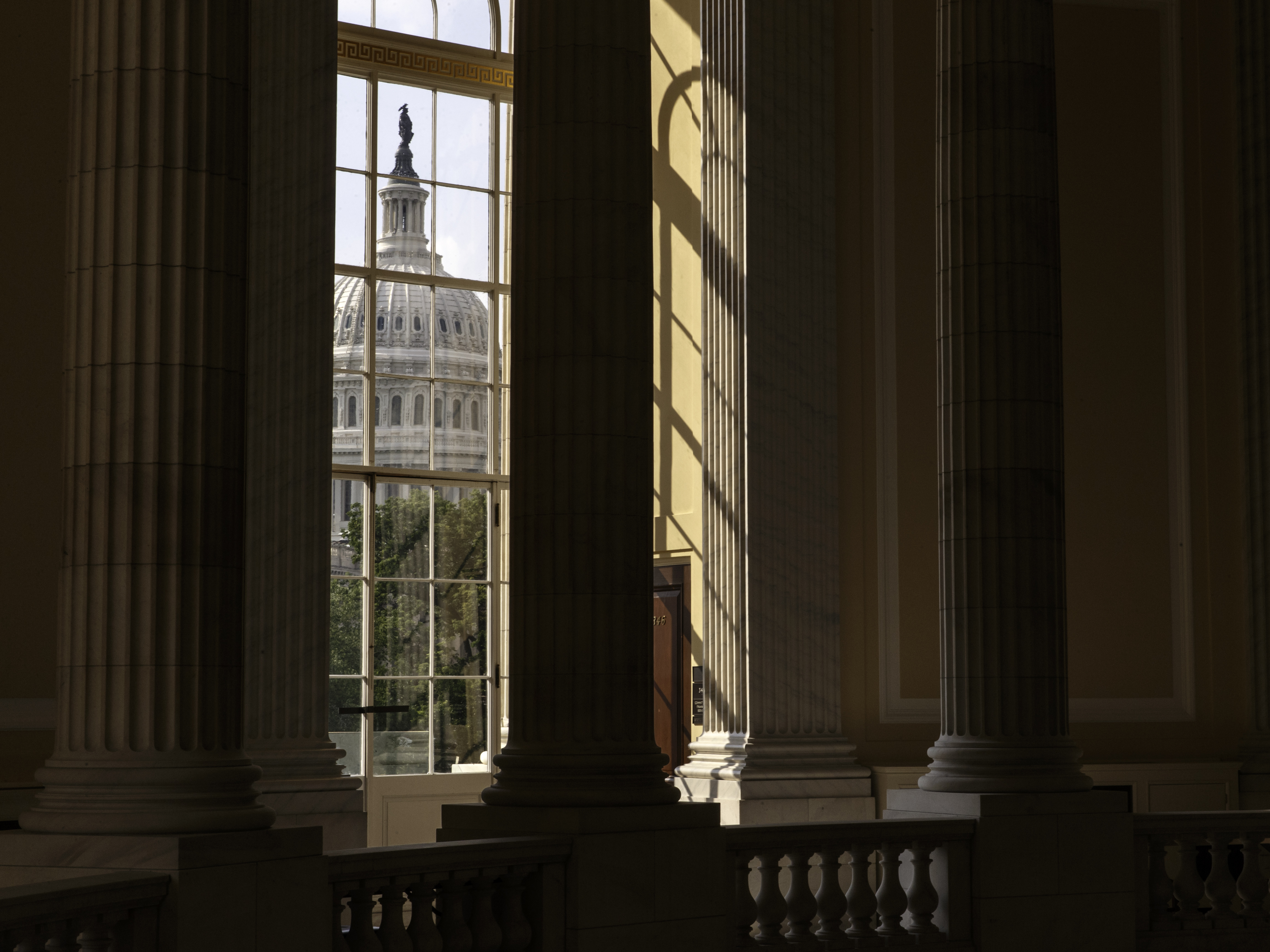 The U.S. Capitol building as seen from the Cannon House Office Building in Washington.