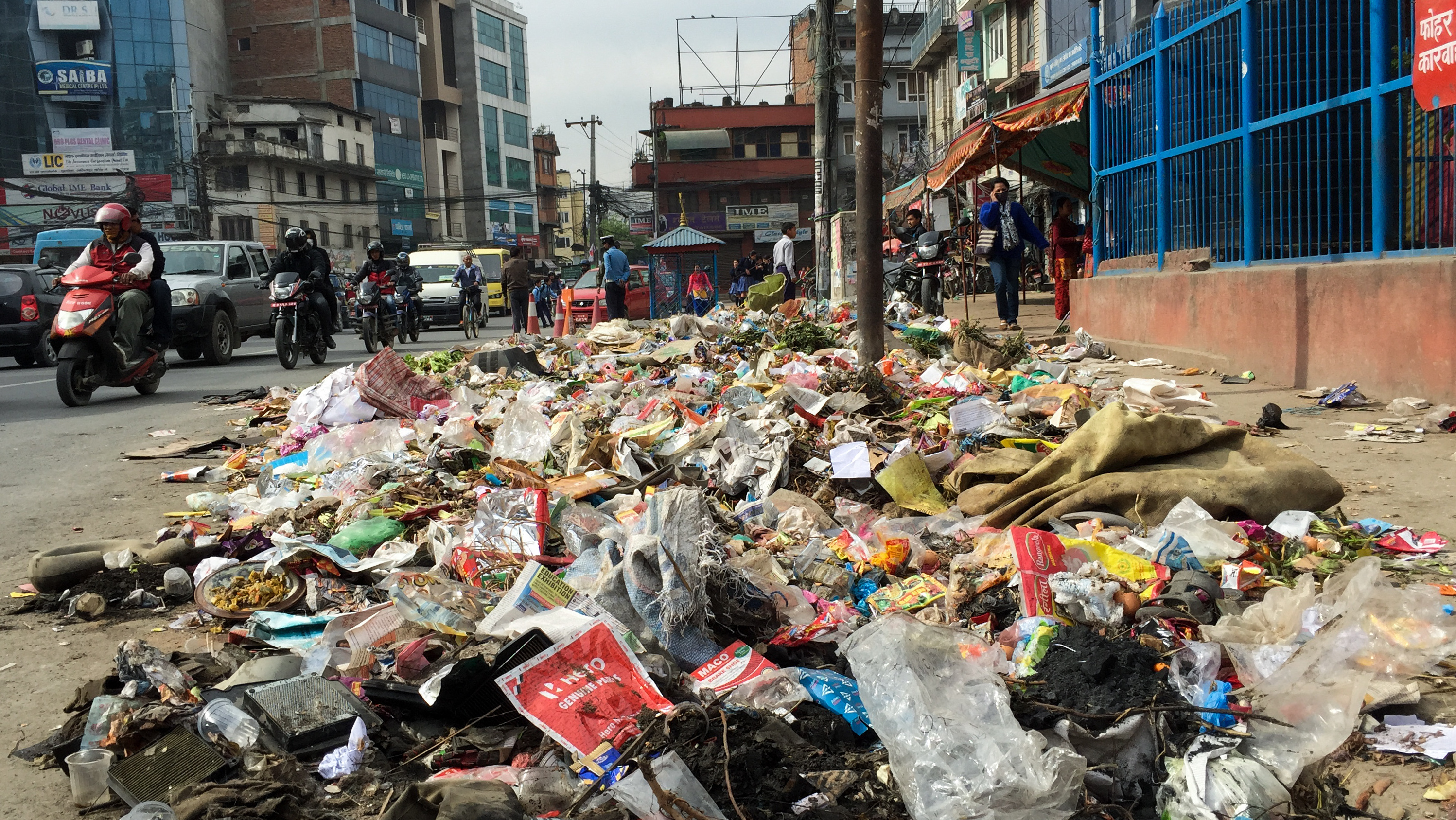 Even Oscar the Grouch might be put off by the growing heaps of trash in the center of Kathmandu, Nepal.