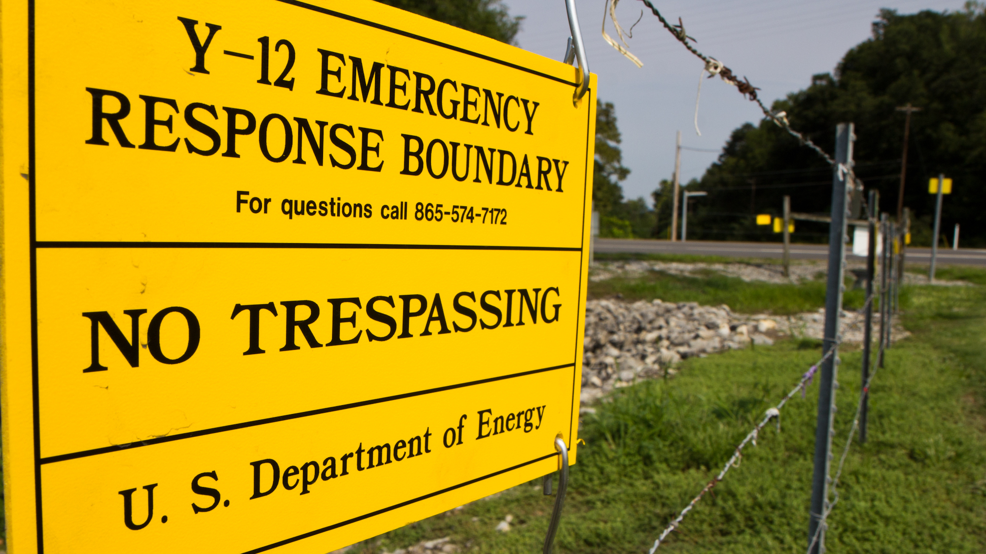 A sign warns against trespassing onto the Y-12 National Security Complex in Oak Ridge, Tenn. Sister Megan Rice and two other anti-war protesters cut through three fences and spray-painted slogans on the wall of a weapons-grade uranium facility in 2012.