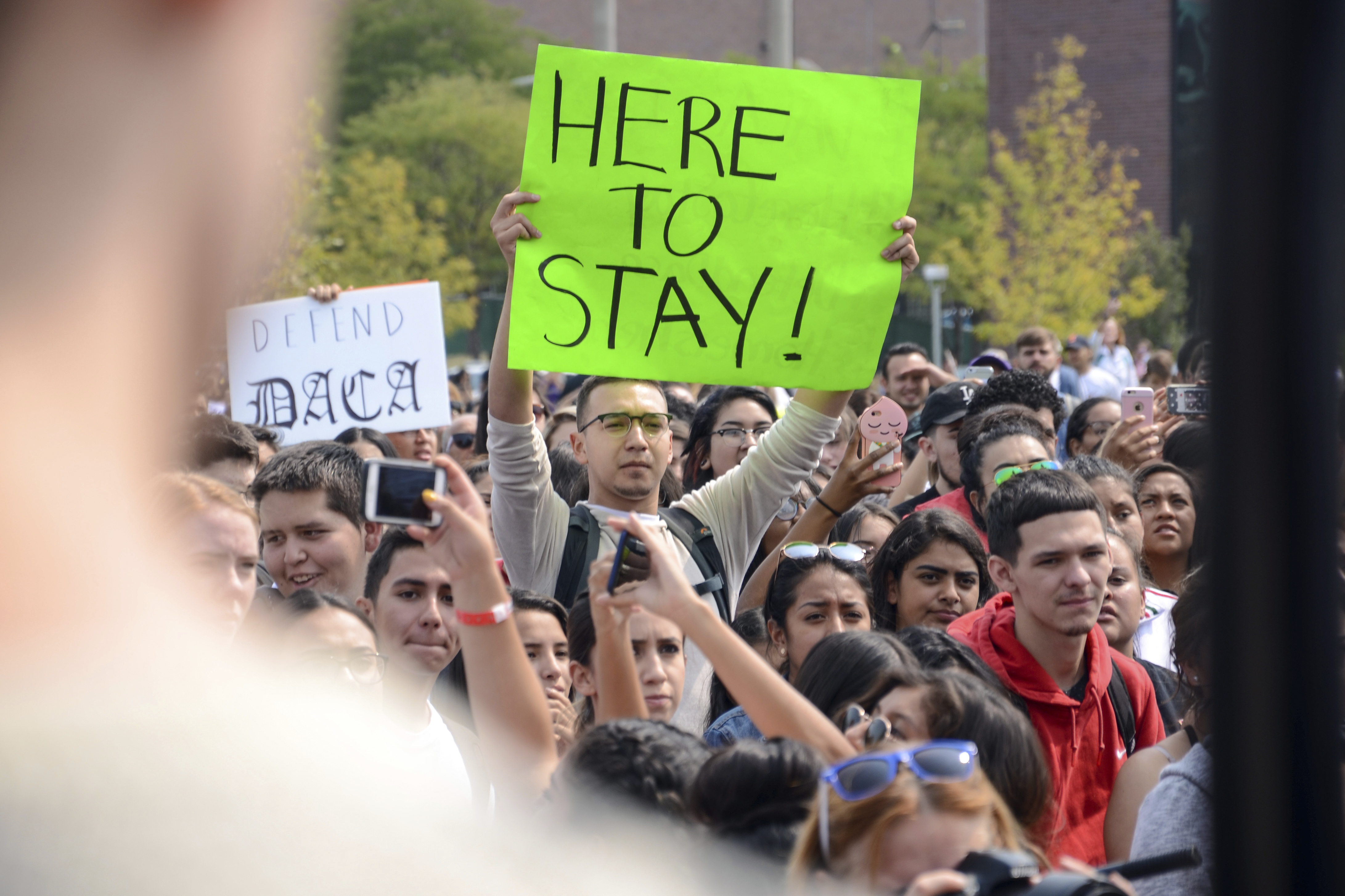 Demonstrators on the campus of Metropolitan State University of Denver protest President Trump's decision to end the DACA program.