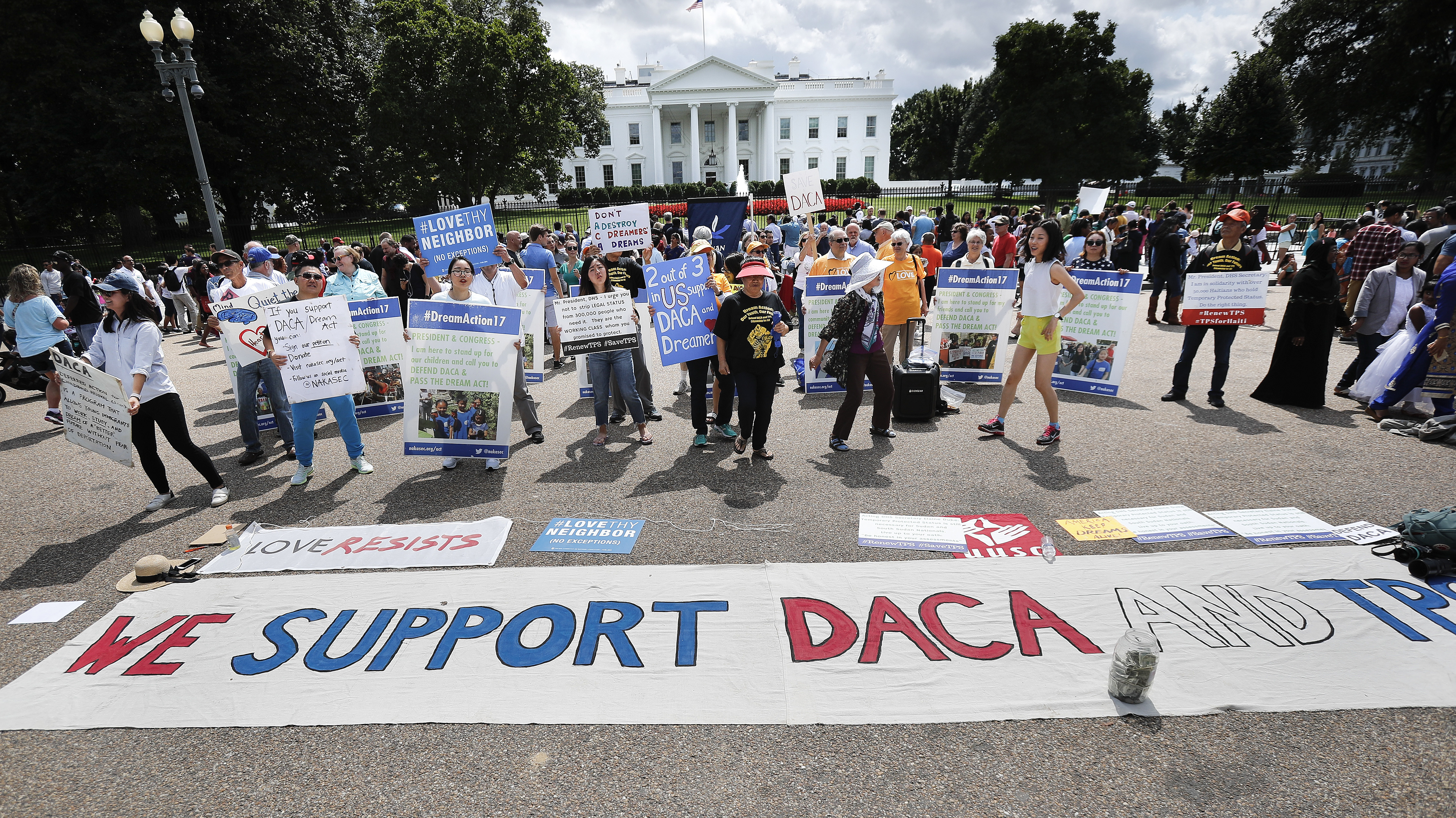 Supporters of Deferred Action for Childhood Arrivals program (DACA), demonstrate on Pennsylvania Avenue in front of the White House in Washington, D.C., on Sept. 3, 2017.