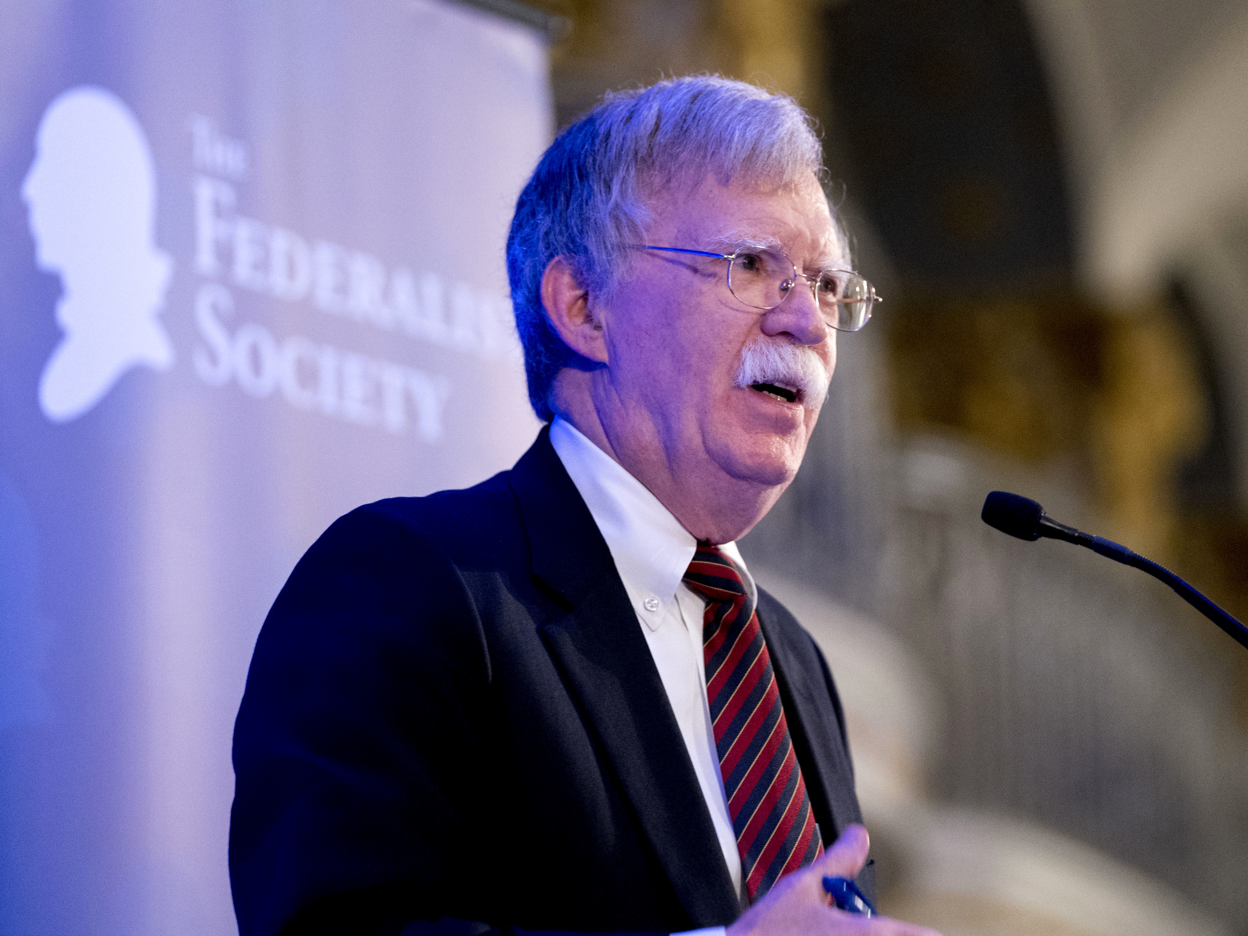 Then-National Security Adviser John Bolton speaks at a Federalist Society luncheon at the Mayflower Hotel on Sept. 10 in Washington.