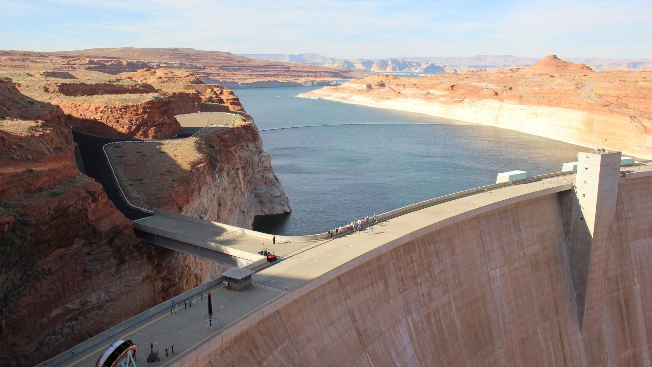Lake Powell stores water from the Colorado River and straddles the Arizona-Utah border. It is currently storing less than half of its capacity.