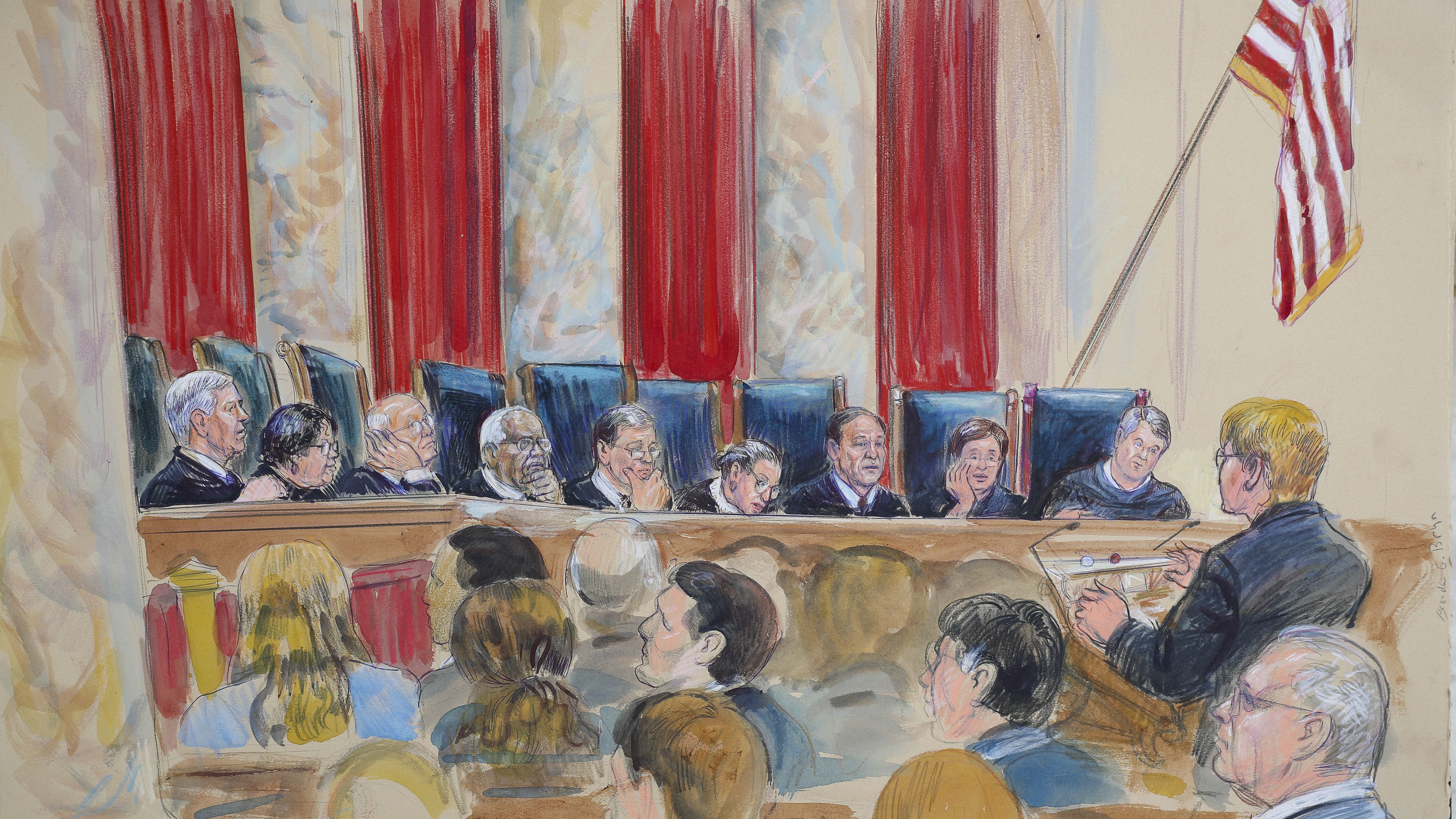 A courtroom sketch shows the Supreme Court hearing oral arguments on Oct. 9, 2018.